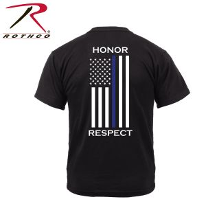 Rothco Honor And Respect 2-sided Thin Blue Line Flag T-shirt - Black