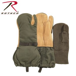 Used G.i. Surplus Leather Trigger Finger Mittens W/ Liner